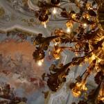 Venice, Ca' Rezzonico. Ballroom, chandeliers and frescoes