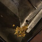 Remains of gold left in the machine to laminate the metals