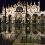 St Mark's Basilica in the night during high tide, Venice November 2019